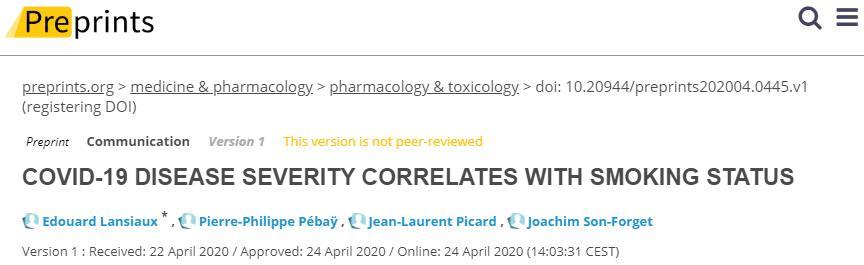 「新冠」吸烟状态与COVID-19严重程度呈正比